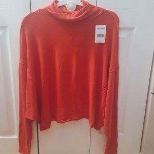 Brand New Free People Red Mock Neck Sweater